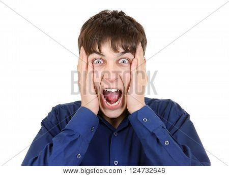 Angry Teenager Portrait Isolated on the White Background