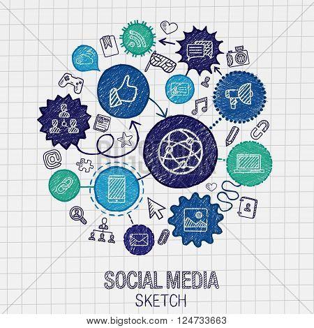 Social media hand drawing hatch icons. Vector doodle integrated pictogram set. Sketch infographic illustration on paper. internet, digital, market, media, connect, technology, global connect concept