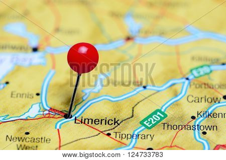 Limerick pinned on a map of Ireland
