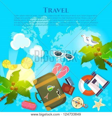 Tourism summer vacation world voyage concept  set