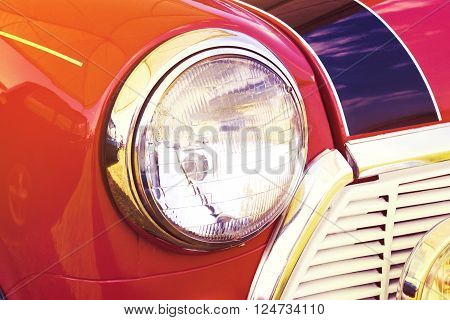 vintage headlight red car retro style photo