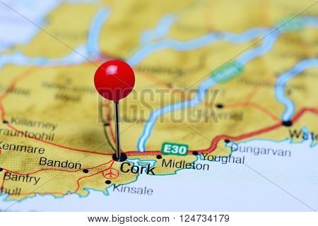 Cork pinned on a map of Ireland