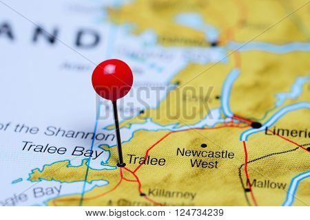 Tralee pinned on a map of Ireland ** Note: Shallow depth of field