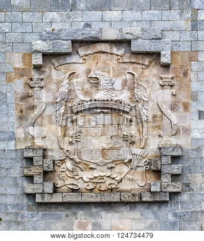 Emblem of the frankists in Valley of the Fallen (Valle de los Caidos) Madrid Spain