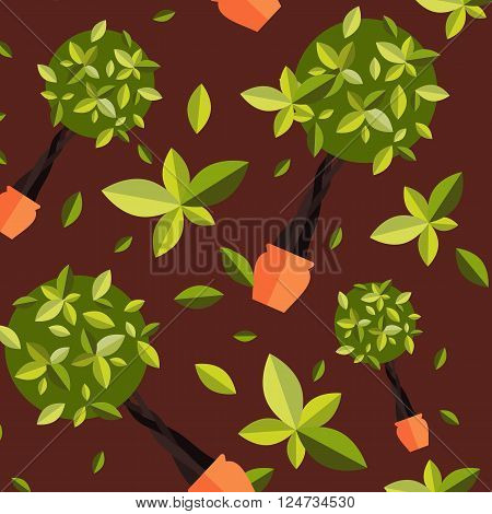 Seamless pattern with houseplants, indoor and office flowers in pot. Seamless pattern with home plants for garden or home. Seamless pattern potted plants. Flat plants, vector plants pattern. Home plant for greenhouse seamless.