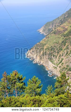 View on the coast of Cinque Terre Italy.