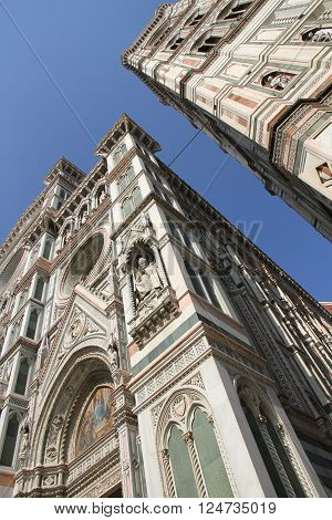 The Basilica of Saint Mary of the Flower (Basilica di Santa Maria del Fiore) in Florence Italy.