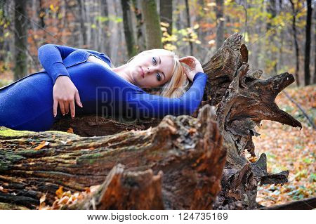 Beautiful young woman in autumn forest. Sunny day