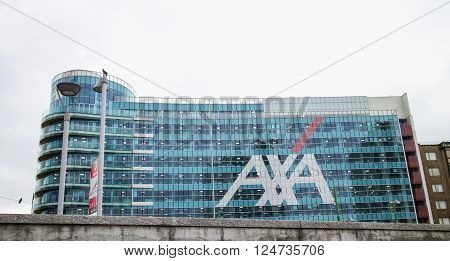 MILAN ITALY - MARCH 30 2016: Axa Palace in Milan. Futuristic building was build in the Porta Nuova urban redevelopment project in 2014. Axa is one of premiere brand of insurance in Italy.