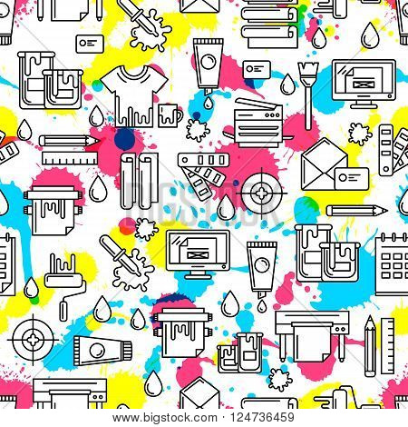 Vector Seamless Pattern With Outline Printing Icons, Watercolor Blots And Splashes.