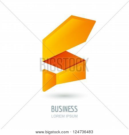 Vector Logo, Sign Design With Abstract Tie In Zigzag Shape.