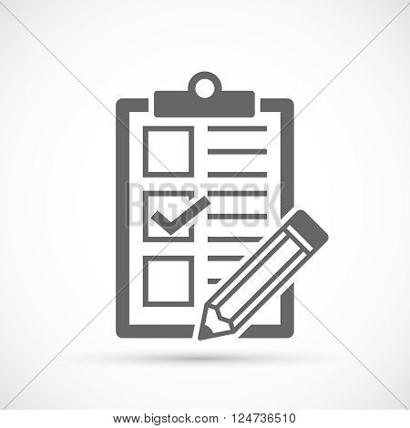 Checklist with tick and pencil. Vector Form