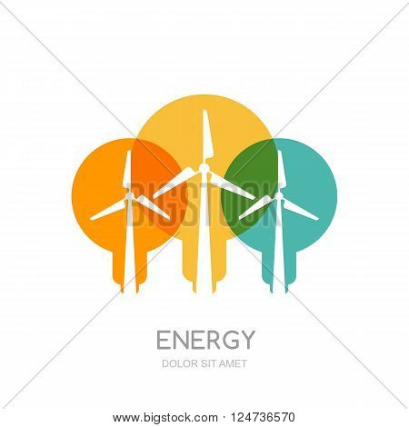 Multicolor light bulbs and wind turbines silhouettes isolated symbol. Vector logo design template. Windmills and wind alternative energy generator. Environmental ecology business concept.