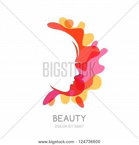 Vector Logo, Emblem Design Elements With Female Profile On Abstract Splash Background.