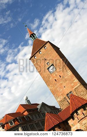 The white tower in Nuremberg Bavaria Germany.