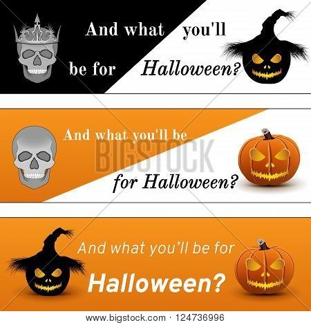 Three banners on Halloween, black, white and orange colors, scull, scarecrow and pumpkin characters