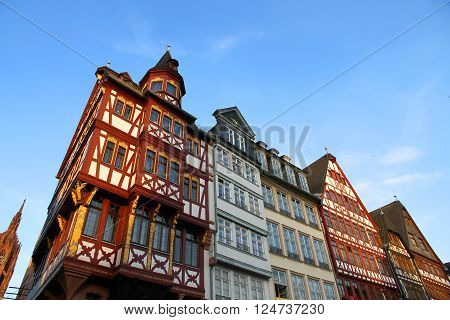 The old town in Frankfurt am Main in Hessen Germany Europe.