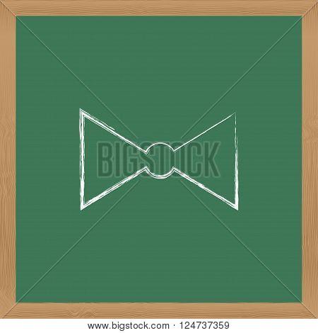 Flat Vector Icon. Chalk On A Blackboard. Bow-tie.