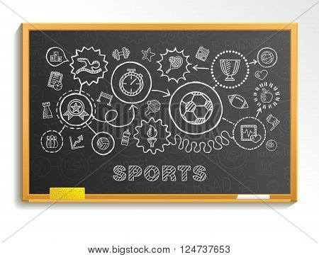 Sport hand draw integrated icons set on school board. Vector sketch infographic illustration. Connected doodle pictograms, swiming, football, soccer, basketball, game, fitness, activity concept