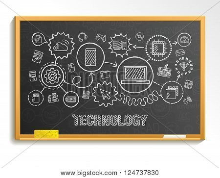 Technology hand draw integrate icons set on school board. Vector sketch infographic illustration. Connected doodle pictograms, internet, digital, market, media, computer, network interactive concept
