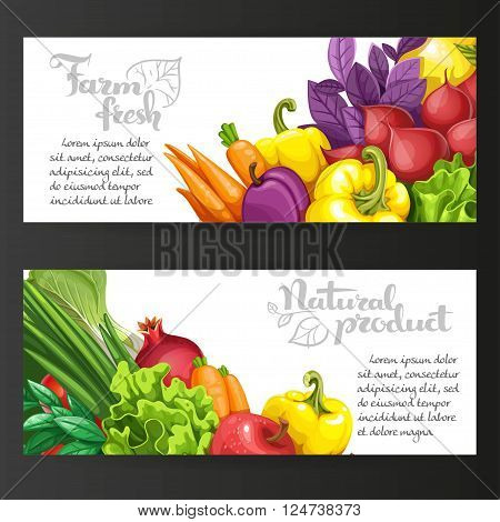 Two Horizontal Banners With Fresh Fruits And Vegetables On A Bla