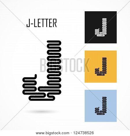 Creative J- letter icon abstract logo design vector template.Creative J- alphabet vector design.Business and education creative logotype symbol.Vector illustration