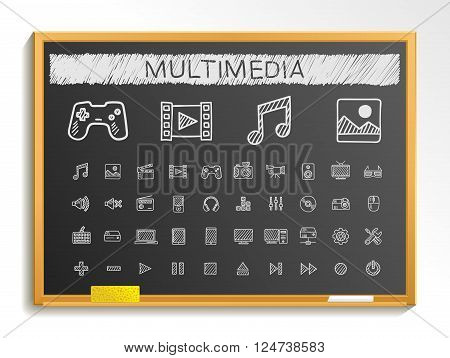 Media hand drawing line icons. Vector doodle pictogram set. chalk sketch sign illustration on blackboard with hatch symbols, buttons, camera, tv, laptop, joystick, movie, device, tablet