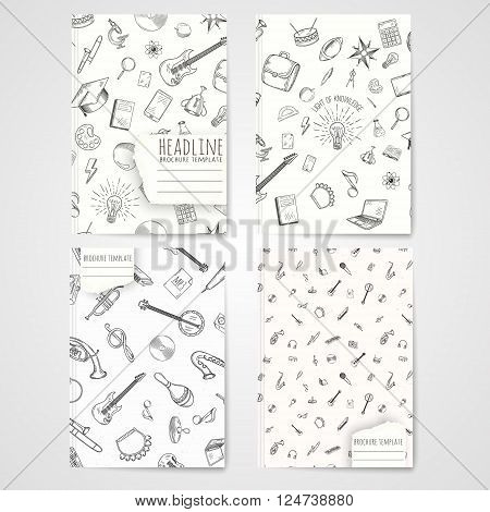 Notebook template with hand drawn music pattern. Vector editable notebook cover.
