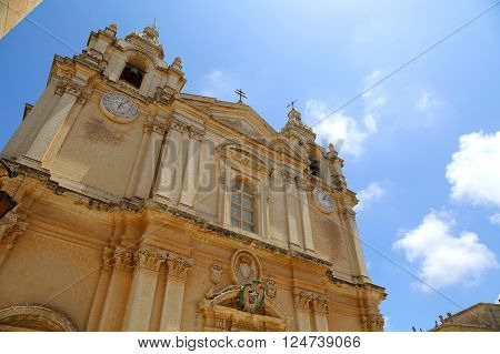 The St. Pauls cathedral in Mdina Malta.