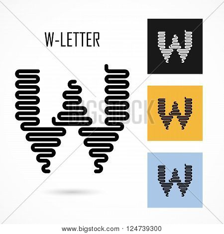 Creative W- letter icon abstract logo design vector template.Creative W- alphabet vector design.Business and education creative logotype symbol.Vector illustration