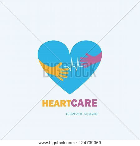 Healthcare & Medical symbol with heart shape.Heart Care logovector logo template.Vector illustration