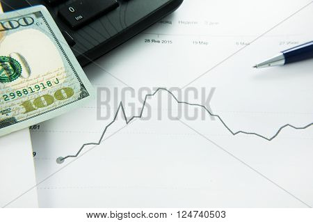 dynamics of exchange rates Dollar and euro chart. Business concept