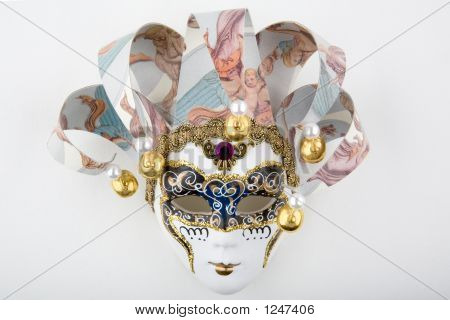 Venetian Carnival Mask, Isolated On A White Background