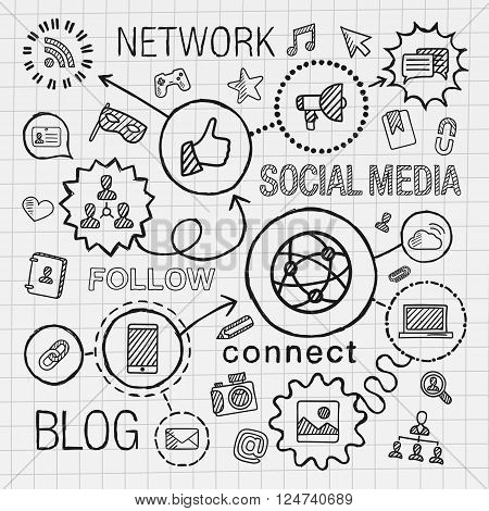 Social media hand draw integrated icons set. Vector sketch infographic illustration. Line connected doodle hatch pictograms on paper. marketing, network, share, technology, community, profile concepts