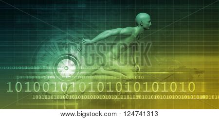 Man Machine Equilibrium as a Science Technology Concept 3D Illustration