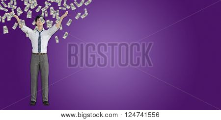 Asian Man Catching Money Falling From the Sky in US Dollars 3D Illustration