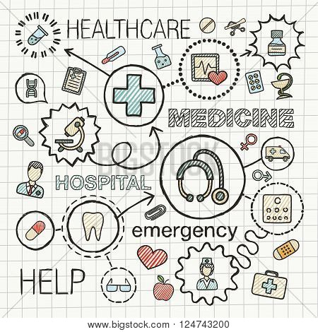 Medical hand draw integrated icons set. Vector sketch infographic illustration with line connected doodle hatch pictograms on paper, healthcare, doctor, medicine, science, emergency, pharmacy concepts
