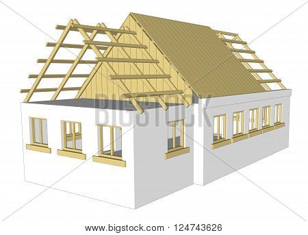 vector cottage bilding house on white background 3D RENDER