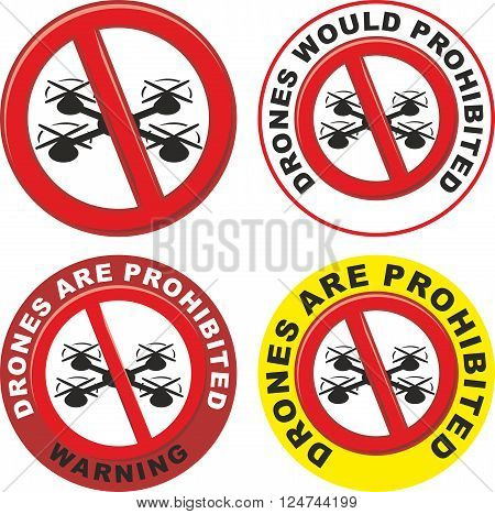 vector illustration symbol drones would be prohibited
