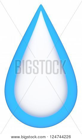 Blue teardrop isolated on a white background.