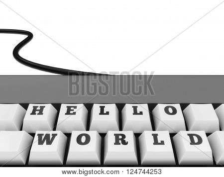Hello World Keys on otherwise blank keyboard isolated on a white background.