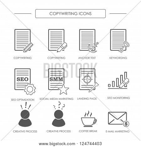 Black and white icons of copywriting in linear style. SEO copywriting and SMM. Vector illustration