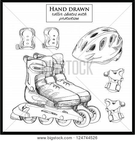 Vector illustration of hand drawn elements of set Roller Skates with helmet and protections.