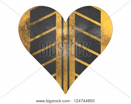 Construction colored tread marked heart symbol isolated on a white background.