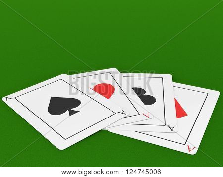 Four Ace cards on a felt green gaming table.