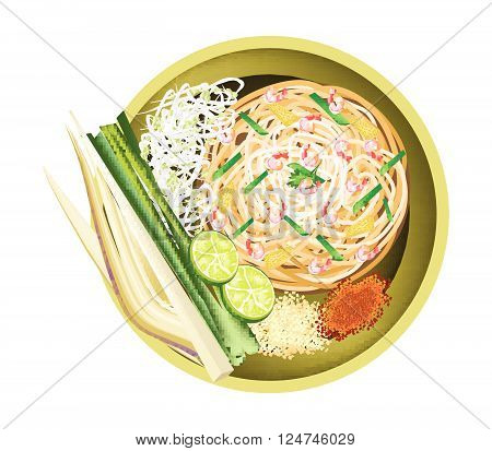 Thai Cuisine Pad Thai or Thai Traditional Stir Fried Noodles with Shrimps. One of The Most Popular Food in Thailand.