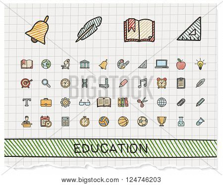 Education hand drawing line icons. Vector doodle pictogram set. color pen sketch sign illustration on paper with hatch symbols, school, elearning, knowledge, learn, subjects, teaching, college.
