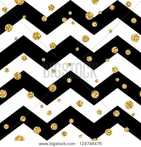 Golden polka dot seamless pattern. Gold confetti glitter zigzag background. Geometric black and white zig zag texture. Valentine day or christmas design for card wrapping textile Vector Illustration