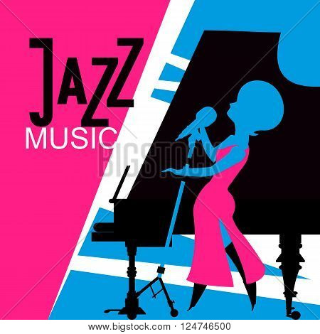 jazz singer performs sings near the piano style of pop art