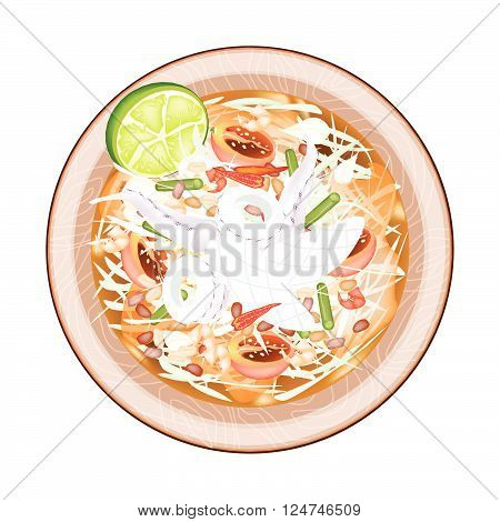 Cuisine and Food, Green Papaya Salad with Cooked Squids. One of The Most Popular Dish in Thailand.